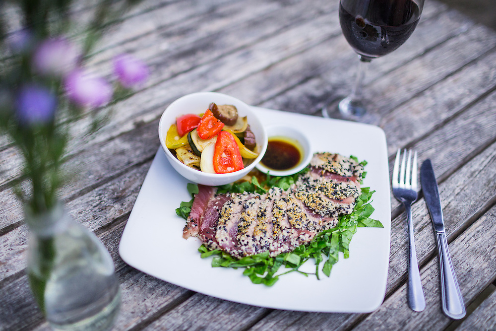 Sesame Crusted Tuna and Red Wine.