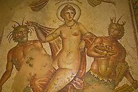 Mosaic of Venus and Centaurs, Underground Palace (House of the Hunt), Roman archeological ruins, Paleo-Christian Quarter, Bulla Regia, Tunisia