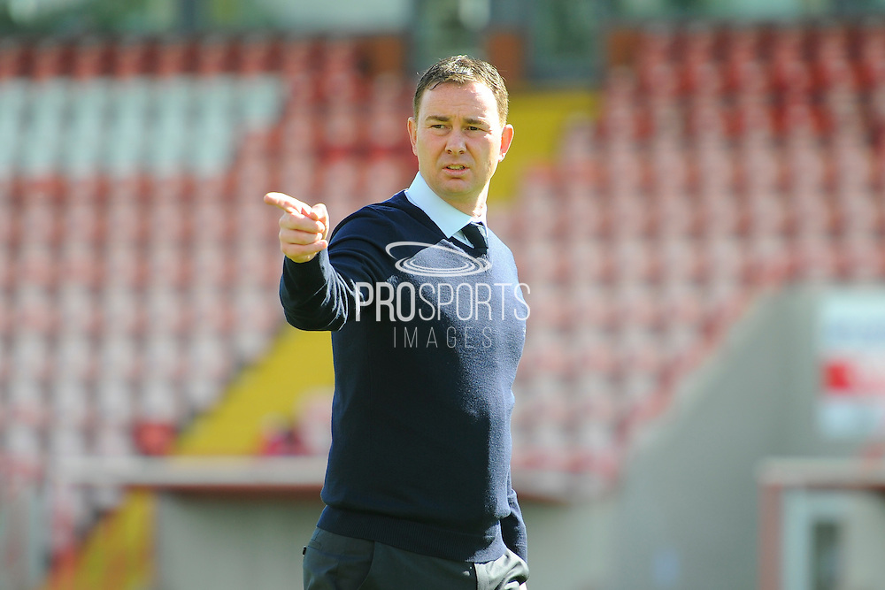 Plymouth Argyle manager Derek Adams on the pitch before the EFL Sky Bet League 2 match between Exeter City and Plymouth Argyle at St James' Park, Exeter, England on 17 September 2016. Photo by Graham Hunt.