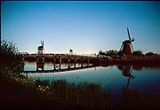 Kinderdijk waters at night, UNECSCO heritage