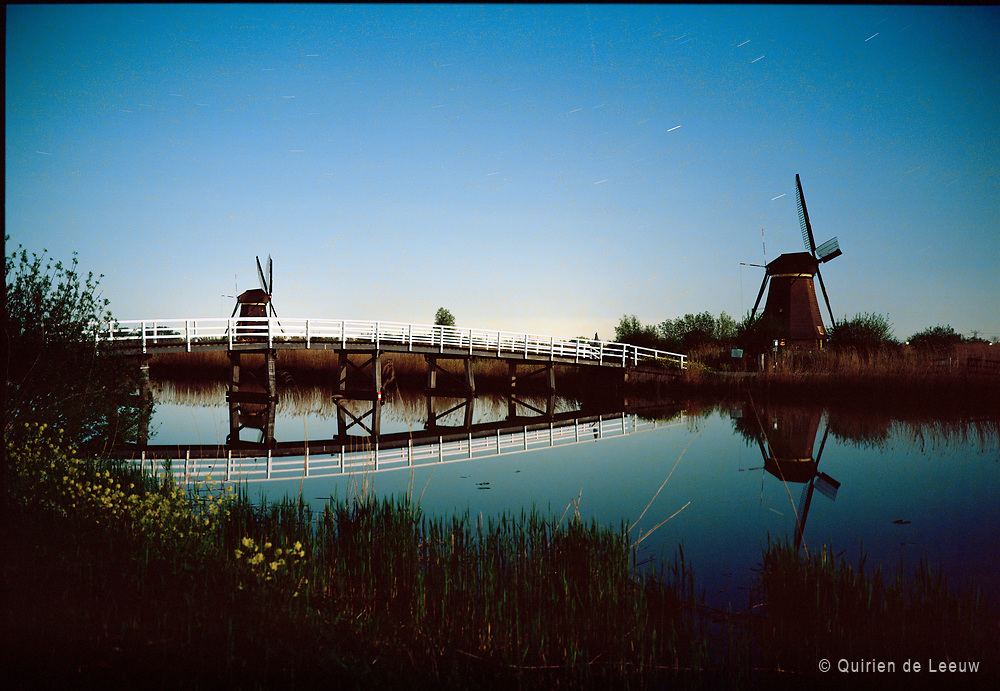 Kinderdijk waters at night, UNECSCO heritage