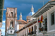 ECUADOR, CUENCA colonial architecture and Cathedral