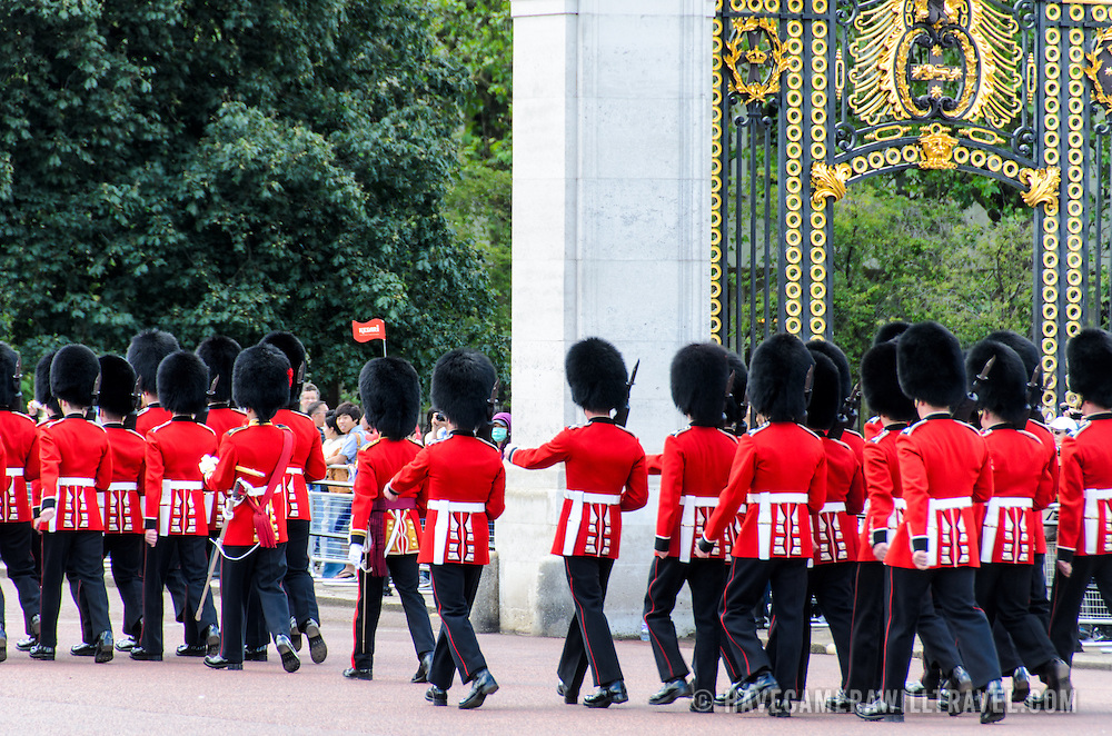 Grenadier Guards at Changing of the Guard 169-110834713x Grenadier Guards march away from Buckingham Palace at the conclusion of the Changing of the Queen's Guard ceremony in London.