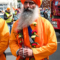 Members of the Gurdwara Honour Guard at the celebrations of Vaisakhi by the Sikh community in Southampton, England.