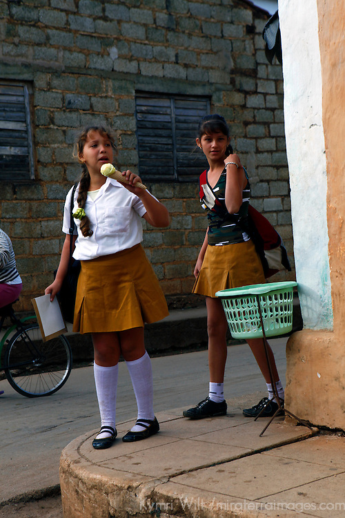 Central America, Cuba, Remedios. Cuban school girls in Remedios.