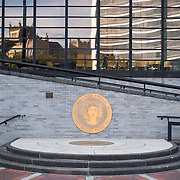"October 4, 2016 - New York, N.Y. : The City College seal, reading ""Collegii Urbis Nov Eborac Sigillum,"" adorns the side of a ramp at the North Academic Center building at the<br /> City College of New York on Tuesday afternoon, October 4. <br /> CREDIT: Karsten Moran for The New York Times"