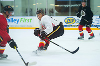 PENTICTON, CANADA - SEPTEMBER 9: Mark Jankowski #77 of Calgary Flames stands on the ice during morning skate on September 9, 2017 at the South Okanagan Event Centre in Penticton, British Columbia, Canada.  (Photo by Marissa Baecker/Shoot the Breeze)  *** Local Caption ***