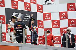 30.10.2011, Jaypee-Circuit, Noida, IND, F1, Grosser Preis von Indien, Noida, im Bild Podium - Jenson Button (GBR),  McLaren F1 Team  - Sebastian Vettel (GER), Red Bull Racing - Fernando Alonso (ESP),  Scuderia Ferrari // during the Formula One Championships 2011 Large price of India held at the Jaypee-Circui 2011-10-30. EXPA Pictures © 2011, PhotoCredit: EXPA/ nph/ Dieter Mathis +++++ ATTENTION - OUT OF GERMANY/(GER), CROATIA/(CRO), BELGIAN/(BEL) +++++