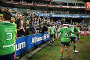 Highlanders celebrate, NSW Waratahs v Otago Highlanders Semi Final. Sport Rugby Union Super Rugby Domestic Provincial. Allianz Stadium SFS. 27 June 2015. Photo by Paul Seiser/SPA Images
