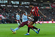 Philip Billing (29) of AFC Bournemouth crosses the ball past Marvelous Nakamba (11) of Aston Villa during the Premier League match between Bournemouth and Aston Villa at the Vitality Stadium, Bournemouth, England on 1 February 2020.