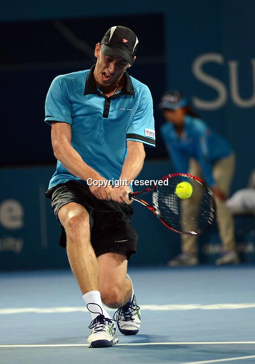 08.01.2014. Brisbane, Queensland, Australia.  John Millman (AUS) in Action against Roger Federer. Brisbane International 2015