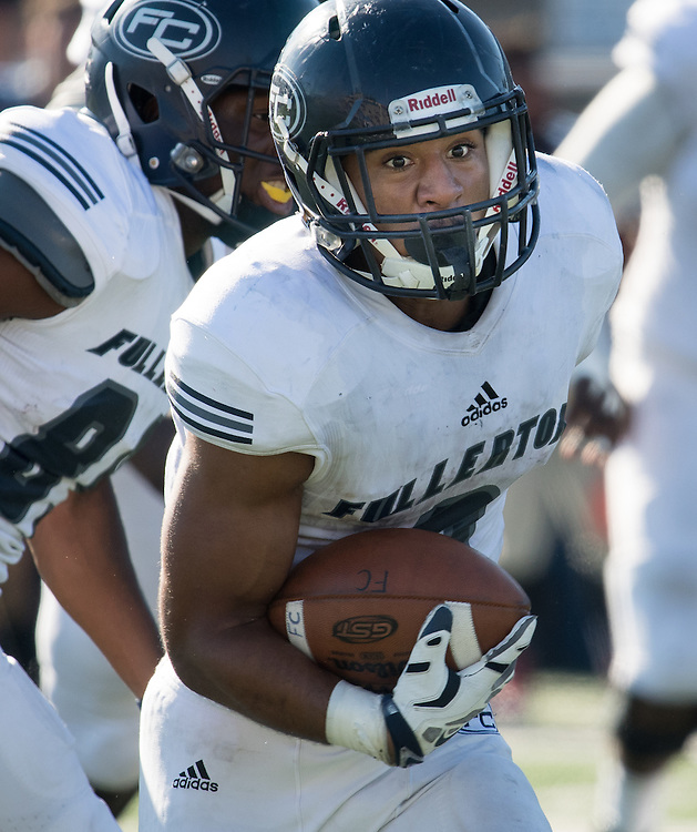 11/5/2016 3:03:30 PM--- Running back Anthony Wood (8) of Fullerton College carries the ball for yardage during their game against Orange Coast College. Fullerton wins 35-14 at LeBard Stadium - Orange Coast College, Costa Mesa, CA.<br /> <br /> Photo by Jason Refuerzo/Sports Shooter Academy 13
