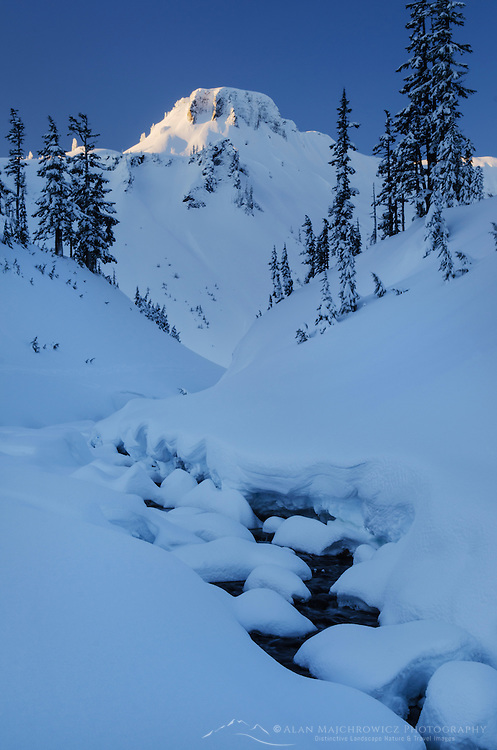 Table Mountain in winter seen from Bagley Creek, Heather Meadows Recreation Area, North Cascades Washington