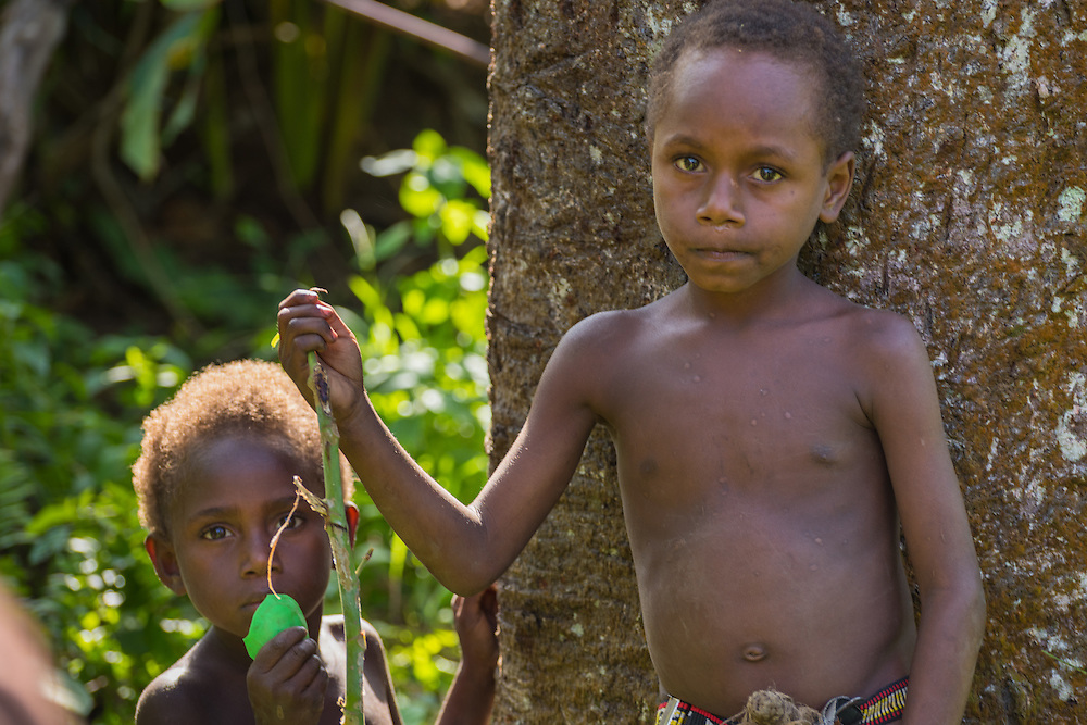 Two young boys looking into the camera, Tannah, Vanuatu.