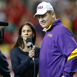 Dec 3, 2011; Atlanta, GA, USA; LSU Tigers head coach Les Miles talks with CBS Sports sideline reporter Tracy Wolfson prior to kickoff of the 2011 SEC championship game against the Georgia Bulldogs at the Georgia Dome.  Mandatory Credit: Derick E. Hingle-US PRESSWIRE