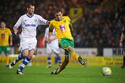 NORWICH, WALES - Saturday, November 14, 2009: Tranmere Rovers' Paul McLaren and Norwich City's Darel Russell in action during the League One match at Carrow Road. (Pic by Gareth Davies/Propaganda)