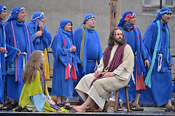 © Licensed to London News Pictures. 30/03/2018. London, UK. Members of the Wintershall Players perform the annual Easter The Passion Of Christ in Trafalgar Square. The full-scale re-enactment of Jesus's final days, from his arrest to his resurrection features 100 performers and animals. Photo credit: Ray Tang/LNP