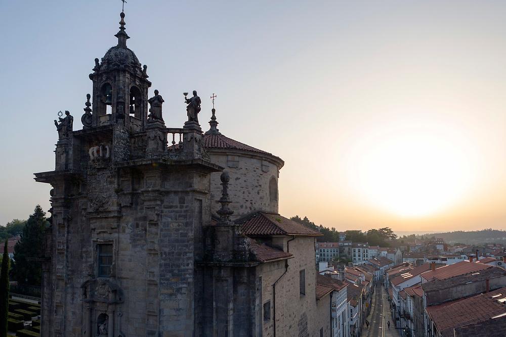 SANTIAGO DE COMPOSTELA, SPAIN - 14th October 2017 - Church architecture in Santiago de Compostela, Galicia, Spain.