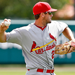 March 19, 2012; Lake Buena Vista, FL, USA; St. Louis Cardinals third baseman David Freese (23) against the Atlanta Braves during a spring training game at Disney Wide World of Sports complex. Mandatory Credit: Derick E. Hingle-US PRESSWIRE