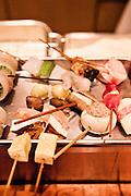 Kushikatsu skewers at Wasabi restaurant.