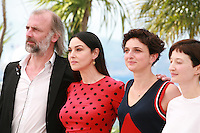 Actor Sam Louwyck, actress Monica Bellucci, Director Alice Rohrwacher and actress Alba Rohrwacher at the photo call for the film The Wonders (Le Meraviglie) at the 67th Cannes Film Festival, Sunday 18th May 2014, Cannes, France.