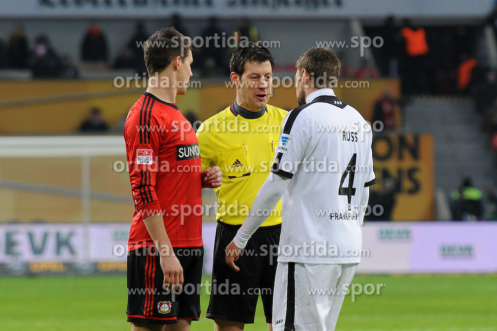 19.01.2013, BayArena, Leverkusen, GER, 1. FBL, Bayer 04 Leverkusen vs Eintracht Frankfurt, 18. Runde, im Bild Philipp Wollscheid ( links Bayer 04 Leverkusen ) und Marco Russ ( rechts Eintracht Frankfurt ) im Dialog mit Schiedsrichter Wolfgang Stark ( mitte/ Action/ Aktion ) // during the German Bundesliga 18th round match between Bayer 04 Leverkusen and Eintracht Frankfurt at the BayArena, Leverkusen, Germany on 2013/01/19. EXPA Pictures © 2013, PhotoCredit: EXPA/ Eibner/ Thomas Thienel..***** ATTENTION - OUT OF GER *****
