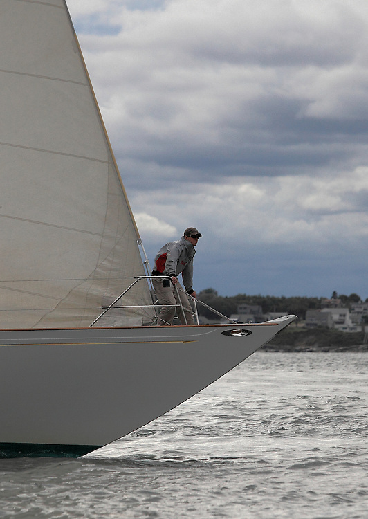 S/Y White Wing's bowman at the 2010 Newport Bucket. Super yachts racing in the 2010 Newport Bucket.