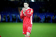 Double goalscorer Scunthorpe Utd forward Lee Novak (17) claps the fans after the EFL Sky Bet League 1 match between Peterborough United and Scunthorpe United at London Road, Peterborough, England on 1 January 2019.