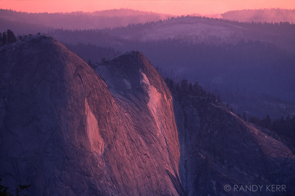 Yosemite sunset with smoke from fire