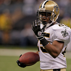2009 September 13: New Orleans Saints running back Reggie Bush (25) reacts after a play during a 45-27 win by the New Orleans Saints over the Detroit Lions at the Louisiana Superdome in New Orleans, Louisiana.