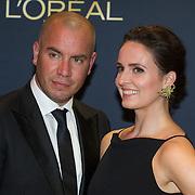 NLD/Amsterdam/20151015 - Televizier gala 2015, Jeroen van Koningsbrugge en partner Marie-Claire Witlox