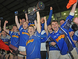 Claremorris U21 captain James McCormack with his team mates celebrate their U21 victory at MacHale Park on saturday evening last.<br />