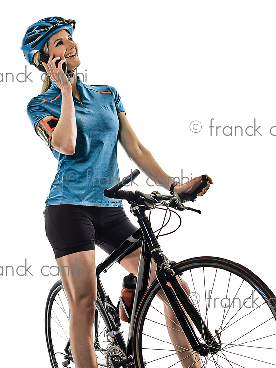 one caucasian cyclist woman cycling riding bicycle telephone isolated on white background