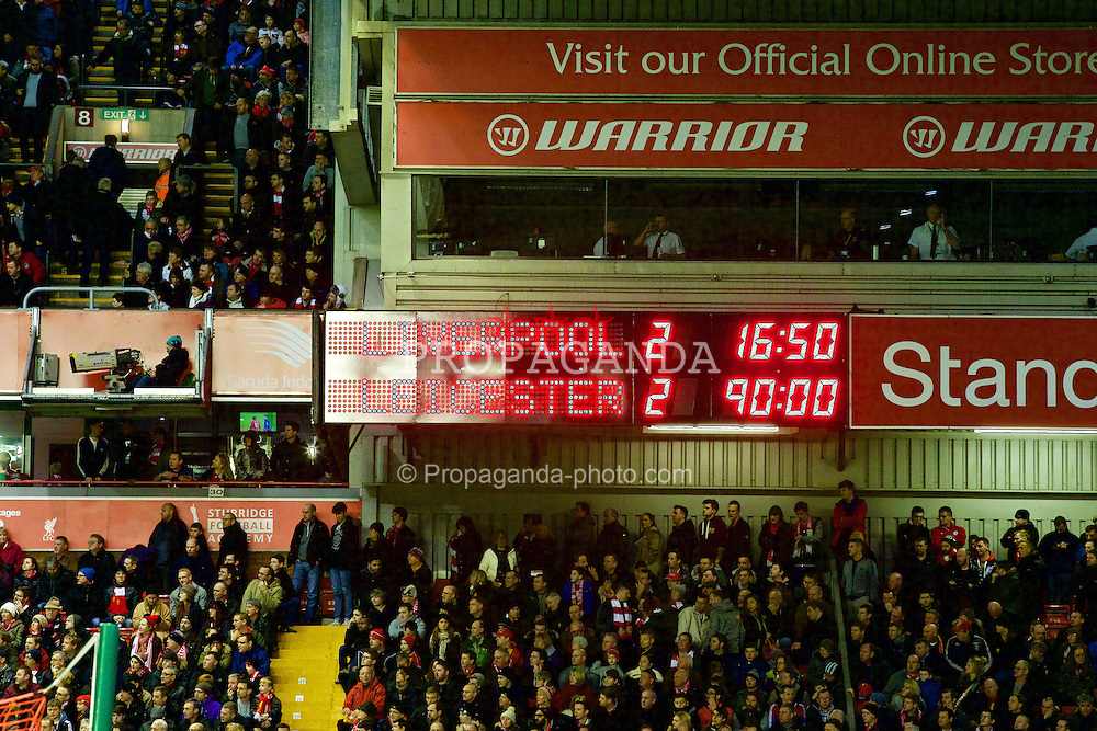 LIVERPOOL, ENGLAND - Thursday, New Year's Day, January 1, 2015: Liverpool's scoreboard records the 2-2 draw with Leicester City during the Premier League match at Anfield. (Pic by David Rawcliffe/Propaganda)