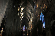 """Une journÈe avec Fleur Nabert, sculpteur, ? Metz le samedi 24 avril 2010, ? l'occasion du vernissage de l'exposition """"Les Cinq Sens"""" - Sculptures en vie rÈalisÈes par l'artiste ? la CathÈdrale de Metz. Vue de l'installation de l'exposition """"Les Cinq Sens"""" - Scuptures en vie dans la cathÈrale de Metz A day with Fleur Nabert, sculptor, on April 24, 2010 in Metz, France for the opening of the sculptures exhibition """"Les cinq sens - sculptures en vie"""" in St Stephen Cathedral of Metz. Atmospheric view of the exhibition. Picture by Manuel Cohen"""