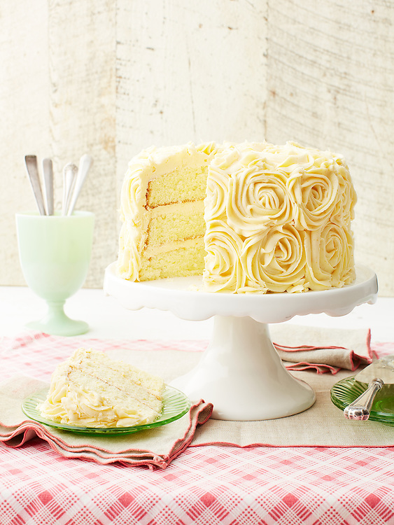 Lemon Chiffon Cake with Buttercream Frosting
