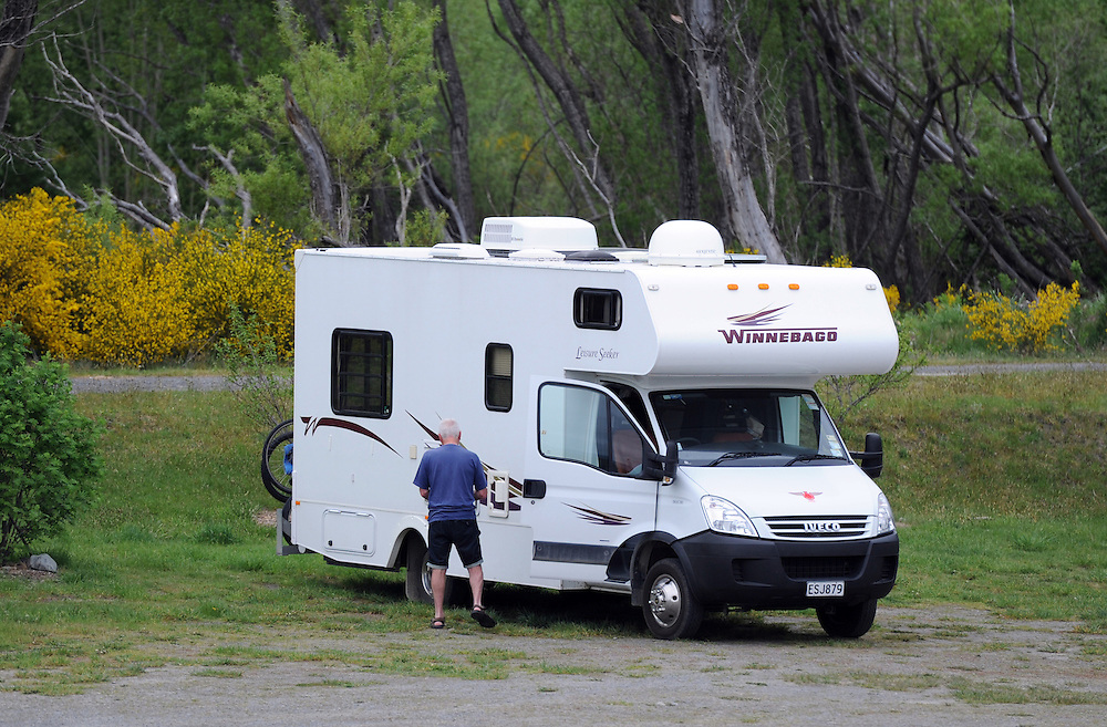 Camper van, holiday park, mobile home, Hanmer Springs, New Zealand, Sunday, October 28, 2012. Credit:SNPA / Ross Setford