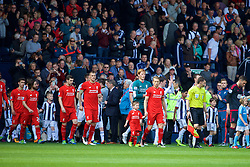 WEST BROMWICH, ENGLAND - Sunday, May 15, 2016: Liverpool's captain Lucas Leiva leads his side out to face West Bromwich Albion during the final Premier League match of the season at the Hawthorns. Lucas Leiva, goalkeeper Adam Bogdan, Martin Skrtel, Jon Flanagan, Joe Allen. (Pic by David Rawcliffe/Propaganda)
