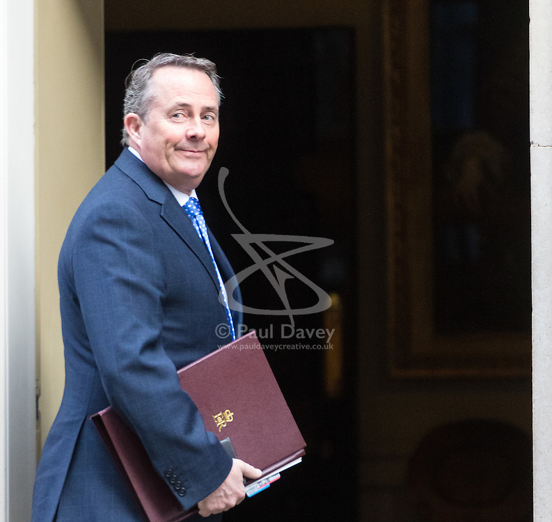Downing Street, London, March 7th 2017. International Trade Secretary Liam Fox arrives in Downing Street for a mini cabinet meeting ahead of the Chancellor's March 8th budget.
