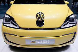 Detail of front of e UP electric car from Volkswagen showing socket for electric recharging plug at Frankfurt Motor Show 2009