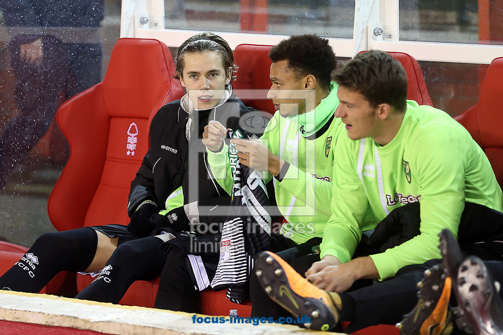 Todd Cantwell of Norwich, Josh Murphy of Norwich and Christoph Zimmermann of Norwich before the Sky Bet Championship match at the City Ground, Nottingham<br /> Picture by Paul Chesterton/Focus Images Ltd +44 7904 640267<br /> 21/11/2017