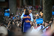 President of the United States Barack Obama hugs Ohio University student Shannon Welch, a senior majoring in Political Science and minoring in French, and the current President of the OU College Democrats.  Obama spoke to a crowd of nearly 14,000 on Ohio University's College Green in Athens, Ohio, on Wednesday, October 17, 2012.  (© 2012 Brien Vincent)