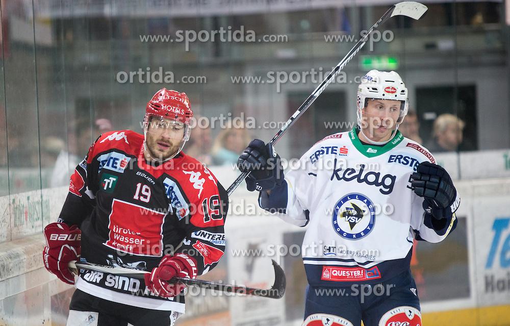 16.10.2015, Tiroler Wasserkraft Arena, Innsbruck, AUT, EBEL, HC TWK Innsbruck die Haie vs EC VSV, 12. Runde, im Bild vl.:  Tyler Spurgeon (HC TWK Innsbruck Die Haie) // during the Erste Bank Icehockey League 12th round match between HC TWK Innsbruck  die Haie and EC VSV at the Tiroler Wasserkraft Arena in Innsbruck, Austria on 2015/10/16, EXPA Pictures © 2015, PhotoCredit: EXPA/ Jakob Gruber