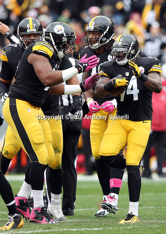 The Pittsburgh Steelers celebrate with Pittsburgh Steelers inside linebacker Lawrence Timmons (94) after he intercepts a first quarter pass near mid field during the 2015 NFL week 6 regular season football game against the Arizona Cardinals on Sunday, Oct. 18, 2015 in Pittsburgh. The Steelers won the game 25-13. (©Paul Anthony Spinelli)