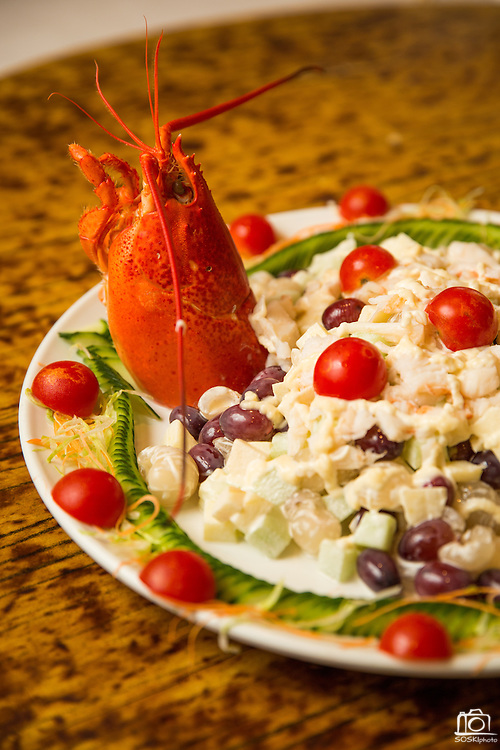 A plate of lobster salad is photographed at Great Mall Mayflower Restaurant in Milpitas, California, on September 11, 2014. (Stan Olszewski/SOSKIphoto)