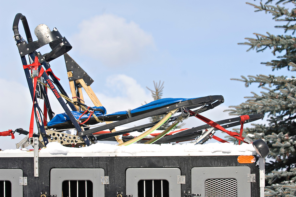 Sleds on top of a mushers truck at the UP 200 Sled Dog Championship mushing race in Marquette Michigan.
