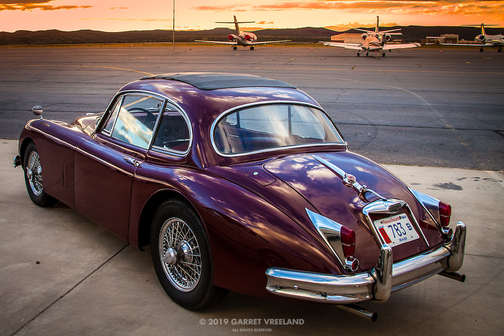Jaguar XK at sunset, Planes and Cars at the Santa Fe Airport, 2013 Santa Fe Concorso.