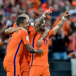 09.06.2017, De Kuip Stadium, Rotterdam, NED, FIFA WM 2018 Qualifikation, Niederlande vs Luxemburg, Gruppe A, im Bild Wesley Sneijder of Netherlands (R) has scored 2-0 // Wesley Sneijder of Netherlands (R) has scored 2-0 during the FIFA World Cup 2018, group A qualifying match between Netherlands and Luxemburg at the De Kuip Stadium in Rotterdam, Netherlands on 2017/06/09. EXPA Pictures © 2017, PhotoCredit: EXPA/ Focus Images/ Joep Joseph Leenen<br /> <br /> *****ATTENTION - for AUT, GER, FRA, ITA, SUI, POL, CRO, SLO only*****