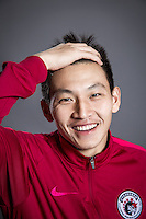 Portrait of Chinese soccer player Mu Qianyu of Liaoning Whowin F.C. for the 2017 Chinese Football Association Super League, in Foshan city, south China's Guangdong province, 24 January 2017.