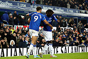 Everton forward Dominic Calvert-Lewin (9) celebrates his goal 1-0 with Everton forward Moise Kean (27) during the Premier League match between Everton and Burnley at Goodison Park, Liverpool, England on 26 December 2019.